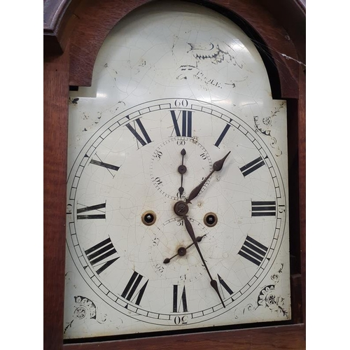 1392 - Local Poole vintage oak long cased Grandfather clock with enamelled face with key and weights etc....