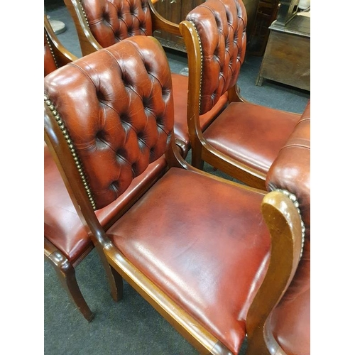 1443 - Set of six bentwood Chesterfield style dining chairs in red leather to include two carvers....