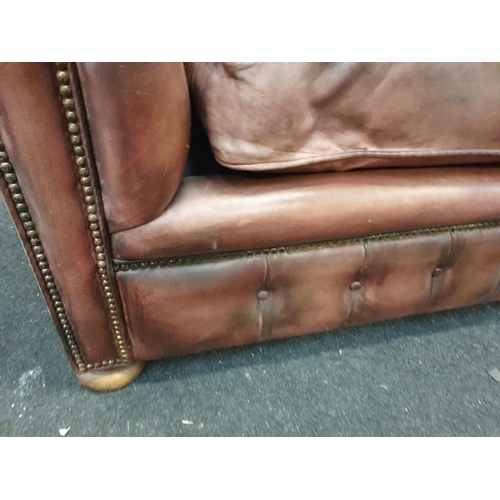 1444 - Three seater leather Chesterfield settee with Chesterfield badge....