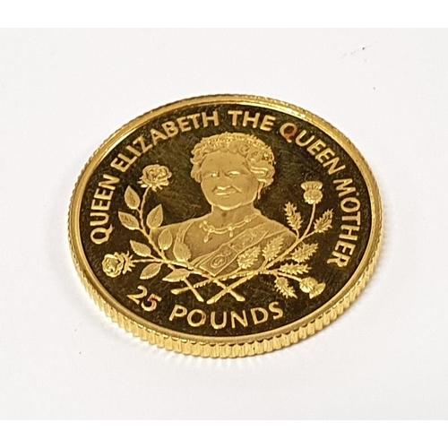 1124 - Queen Elizabeth The Queen Mother Proof £25 coin in box....