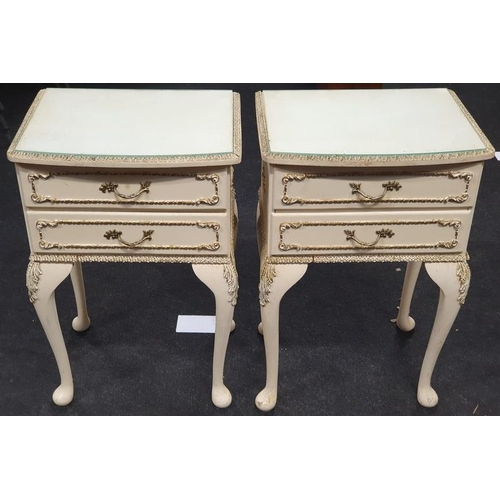 1492 - Pair vintage 1960's French style bedside units....