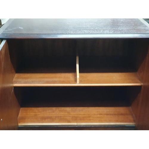 1495 - Vintage Stag Minstrel bedroom storage cupboard with two drawers underneath.