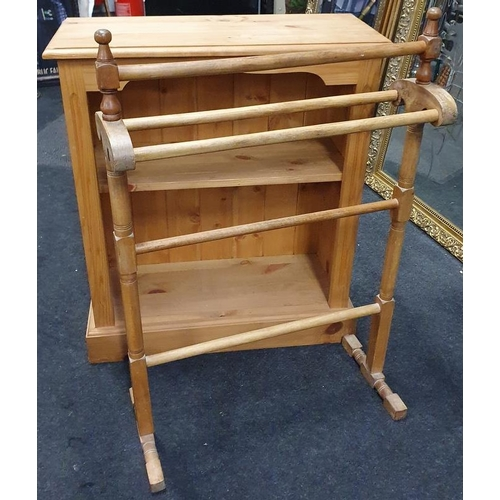 1499 - A Victorian pine freestanding towel rail together with a pine bookcase.