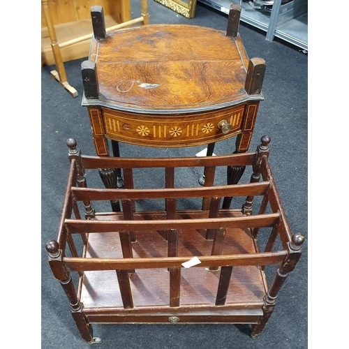 1502 - Mahogany Canterbury together with a mahogany inlaid twin drawer side table (glass missing)....
