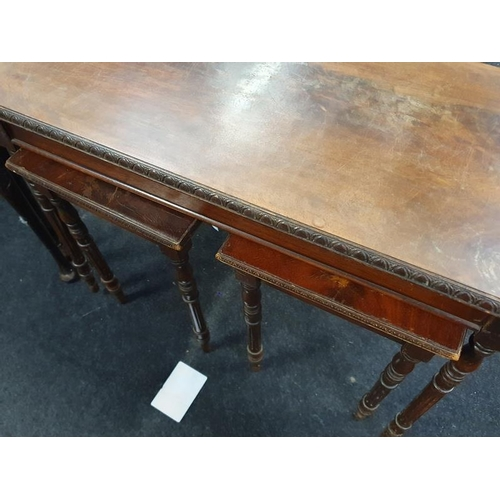 1505 - Nest of two mahogany tables with leather tops together with a nest of three mahogany tables and one ...