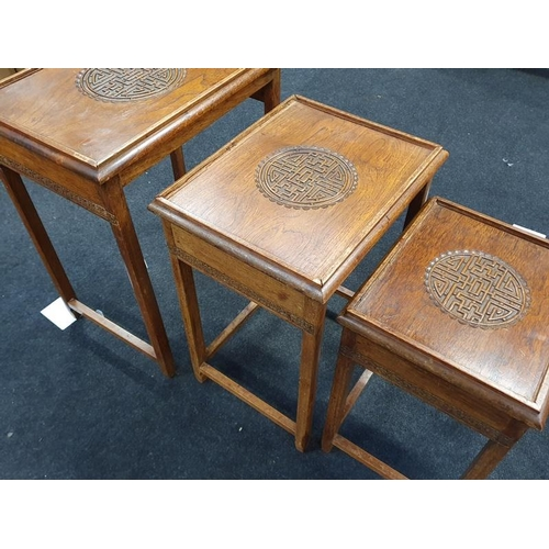 1508 - Nest of three Chinese hardwood tables....