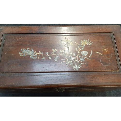 1509 - Camphor wood inlaid trunk with fitted inside and lock....
