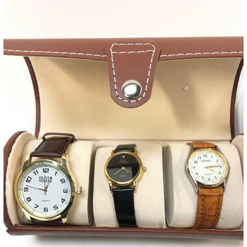 1182 - Two display cases containing gents watches.