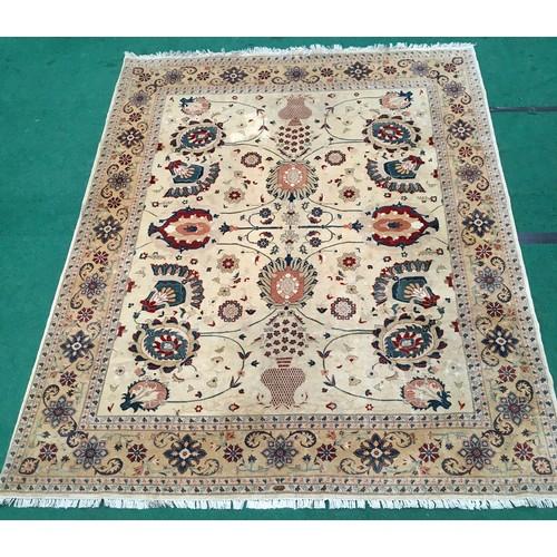 1453 - Room size beige patterned carpet. 300 x 240cms.