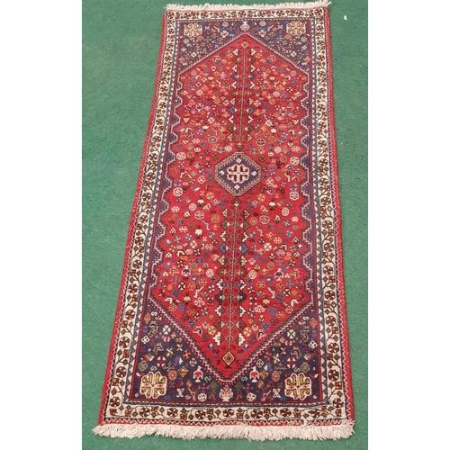 1460 - Vintage Carpet Runner on Red Ground. 79x29