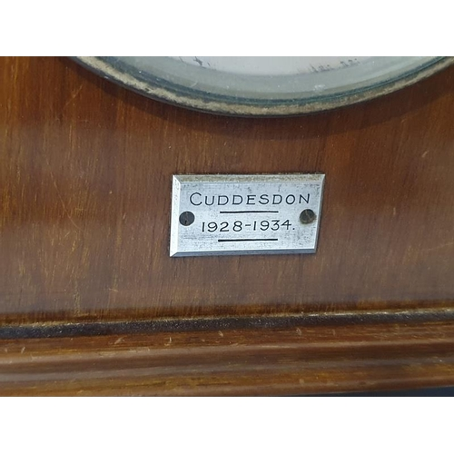 1260A - Rowell Oxford mahogany cased Garrard movement retail mantle clock with pendulum and key....