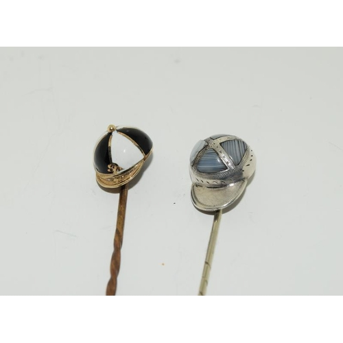 6 - A collection of stickpins to include, 2 jockey caps. (NI007)