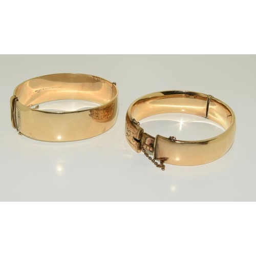 14 - Two 9ct Gold Metal Core 1930s Bangles.
