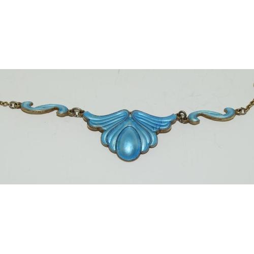 29 - Silver Blue Enamel Necklace.