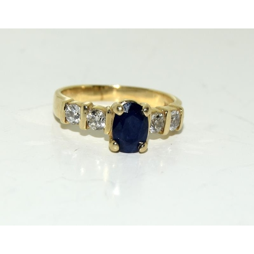 205 - A 14ct Gold ladies Sapphire and Diamond ring, Size K....