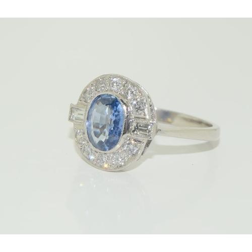 228 - Platinum ladies Sapphire and Diamond ring. Size N....