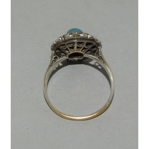 18 - Art Deco Turquoise Marcasite 9ct Gold /Silver Ring, Size O.