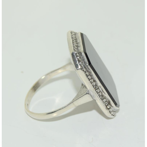 23 - Large Art Deco Black Onyx Silver Marcasite Ring, Size Q.
