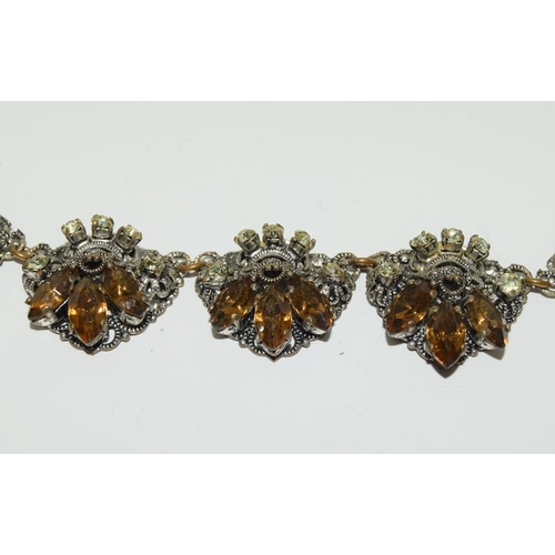 27 - Czech crystal Filligree necklaces and 2 brooches.