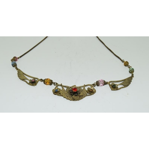 37 - Czech crystal Egyptian Revival necklace and brooch.