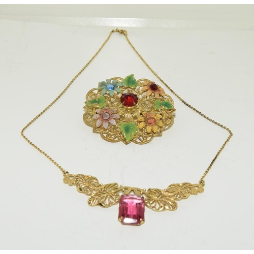 19 - Art Deco Czech crystal necklace and brooch.