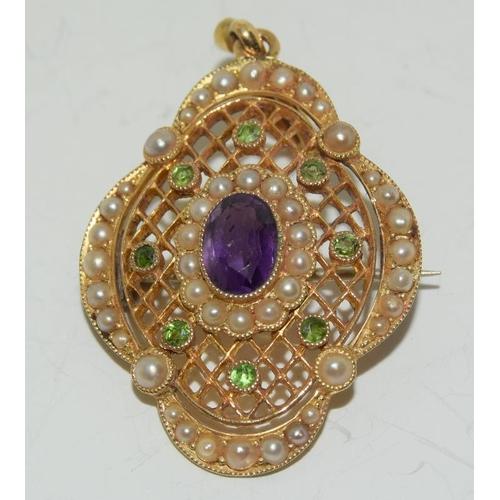 171 - 15ct gold Suffragette pendant brooch....