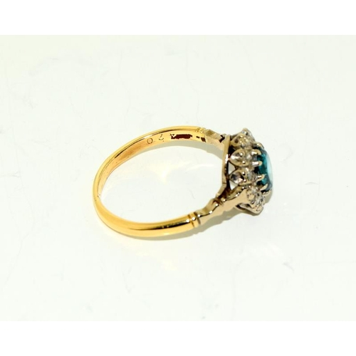 207 - A Vintage Natural Deep Blue Zircon and Diamond Ring in 18ct Gold, Size O....