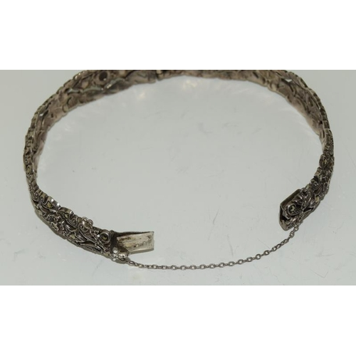 17 - Art Deco Silver & Marcasite Bangle together with a Large Silver & Marcasite Necklace.
