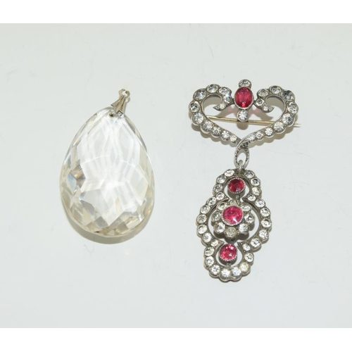 16 - Art Deco Diamond & Ruby Paste on Silver Drop Brooch together with an Art Deco Rock Crystal Drop Pend...