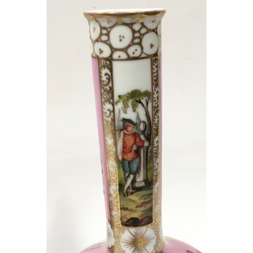 15 - Pair onion vases decorated in the Dresden style 30cm tall...