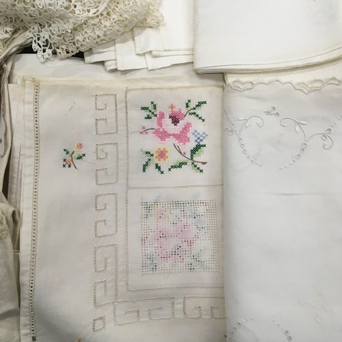 33 - Collection of Victorian and other lace table linen, hankies and misc doilies needs laundering...