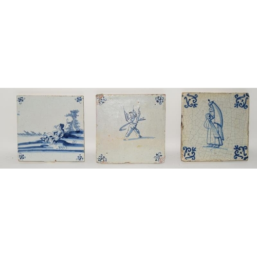 20 - Dutch blue & white Delftware tile with lowlands tin glaze depicting a shepherd & shepherdess c1660, ...