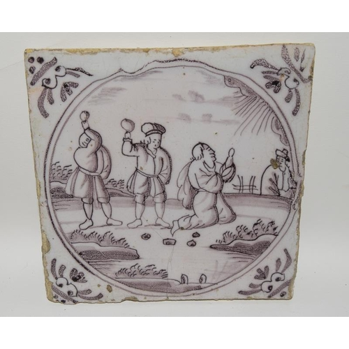 21 - Dutch Deftware Tile with Maganese glaze