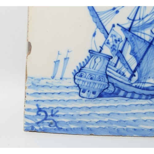 22 - Dutch Delftware blue & white tile depicting a shipwreck scene circa 18th century 5