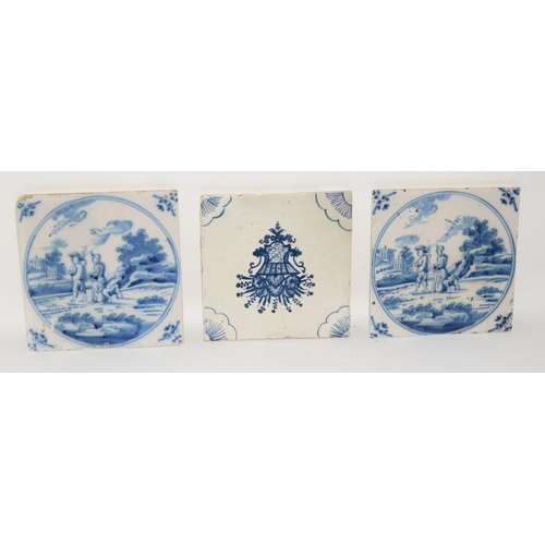 23 - Dutch Delftware pair of blue & white tile depicting figures on a journey circa 18th century, togethe...