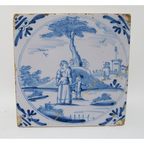 24 - Dutch Delftware, 19th / early 20th Century polychrome tile depicting flowers in a vase 6