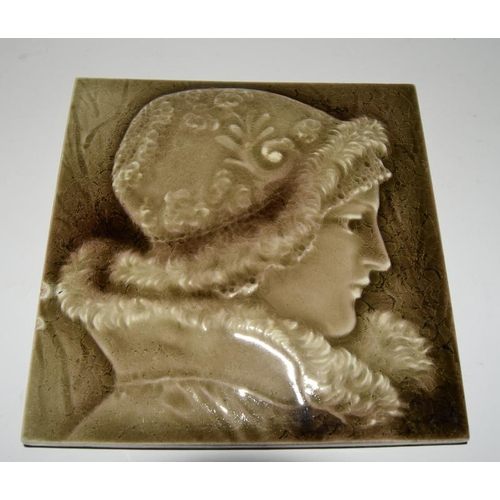 34 - William Gladstone unknown manufacture solid plastic clay tile using the Ombrant technique c1890-1900...