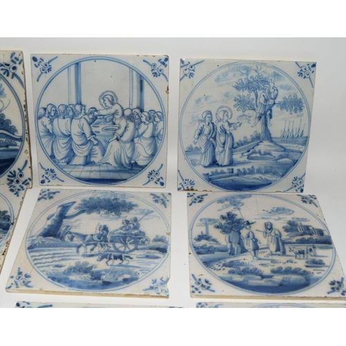 36 - Dutch Delftware large quantity of blue & white tiles depicting Biblical / Religious scenes c1800's, ...