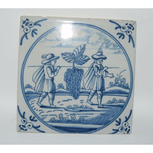 37 - Dutch Delftware quantity of blue & white tiles depicting Biblical / Religious scenes c1700's, each t...