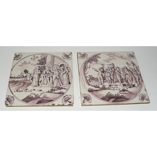 38 - Dutch Delftware quantity of manganese glazed tiles depicting Biblical / Religious scenes c1700-1800s...