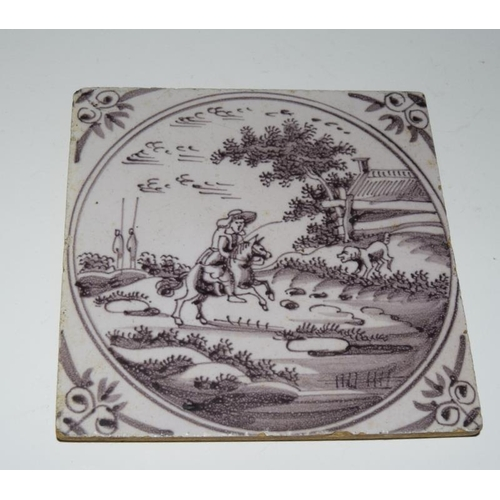 39 - Dutch Delftware quantity of manganese glazed tiles depicting Swans, hunting scene, birds, circa 17th...