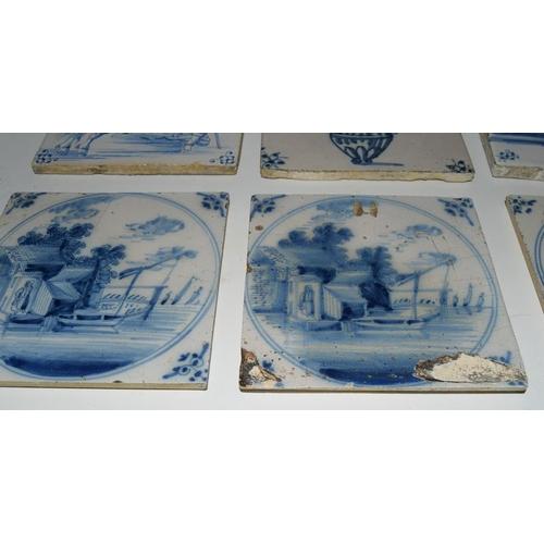 40 - Dutch Delftware large quantity of blue & white tiles  c1700-1800s, each tile approx 5