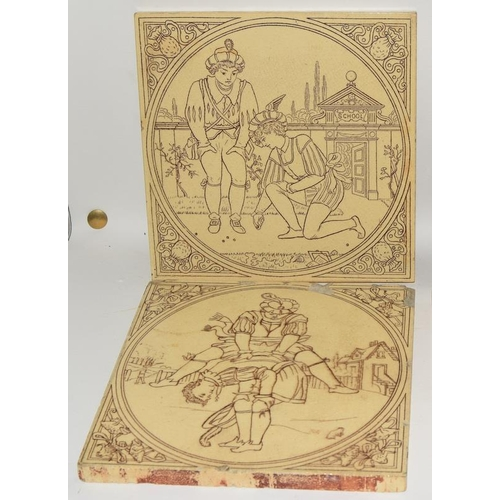42 - Malkin Edge & Co, qty of tiles from the Games Series c1866-1900, each tile 6