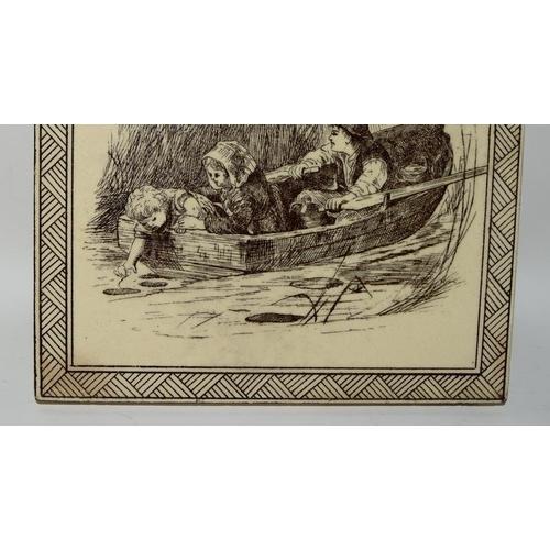 49 - Minton Hollins pair of brown transferware tiles depicting Children 6