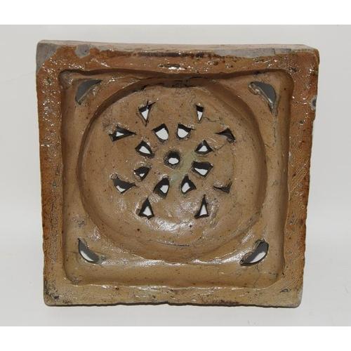 50 - Martin Brothers c1873-1915, domed flower design handmade saltglazed stoneware tile 6