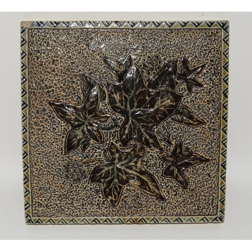 51 - Martin Brothers handmade glazed stoneware tile with carved & incised foliage & berries c1873-1915, p...