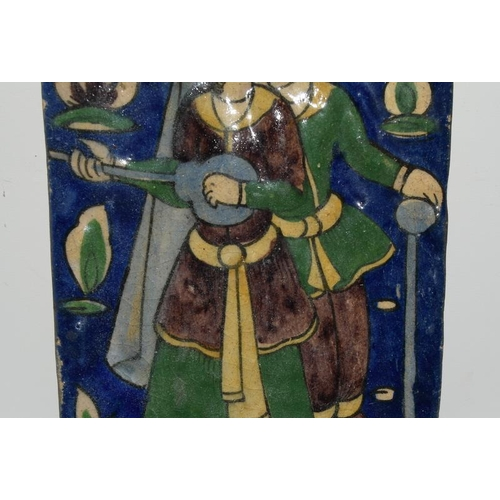 53 - Persian Qajar tile depicting lovers with Mandolin / Sitar 4.6