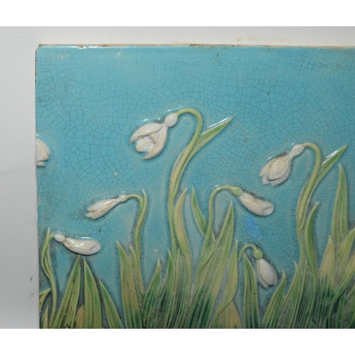 55 - George Jones large Majolica tile depicting snowdrops c1880s 6.8