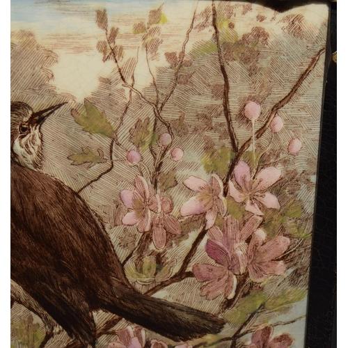 56 - Minton China Works framed tile by L. T. Swetnam c1886 (frame with tile 9.8