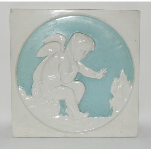 83 - Copeland pale blue & white large relief moulded tile
